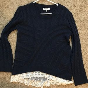 Navy blue lace trim sweater
